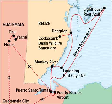 Belize trip map